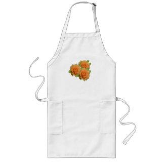 Rosas anaranjados delantal largo
