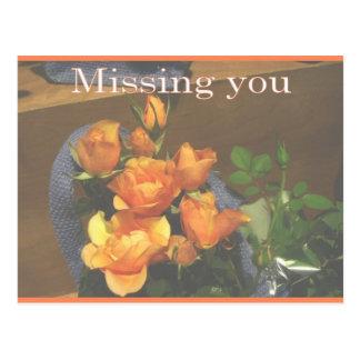 Rosas anaranjados postal