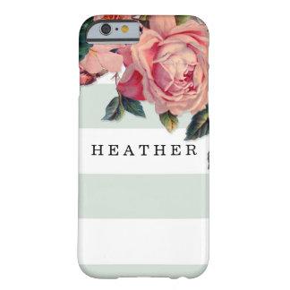 Rosas anchos elegantes MODERNOS de las rayas w, Funda De iPhone 6 Barely There