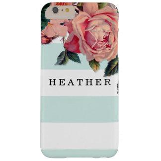 Rosas anchos elegantes MODERNOS de las rayas w, Funda De iPhone 6 Plus Barely There