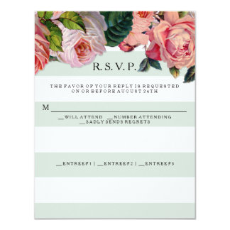 """Rosas anchos elegantes MODERNOS de las rayas w, Invitación 4.25"""" X 5.5"""""""