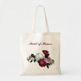 Rosas antiguos que casan a la criada del honor bolsa tela barata