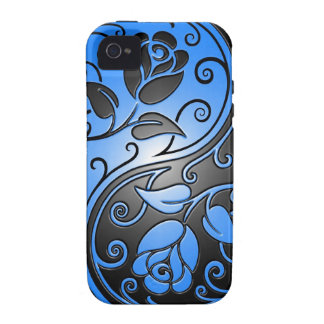 Rosas, azul y negro de Yin Yang iPhone 4 Carcasas