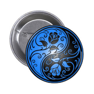 Rosas, azul y negro de Yin Yang Pin Redondo De 2 Pulgadas