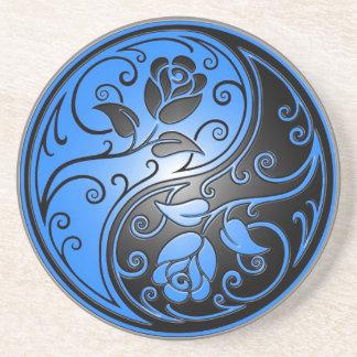 Rosas, azul y negro de Yin Yang Posavasos Cerveza