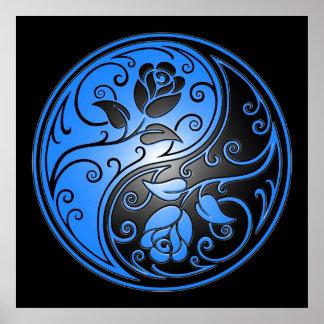 Rosas, azul y negro de Yin Yang Póster