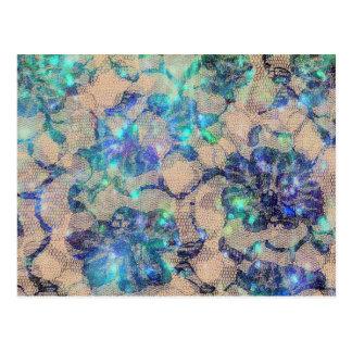 Rosas azules bonitos del cordón tarjetas postales