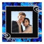 Rosas azules brillantes y el casarse de los anuncios personalizados