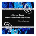 Rosas azules brillantes y el casarse de los invitacion personalizada