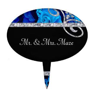 Rosas azules brillantes y el casarse de los remoli decoraciones de tartas