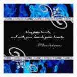 Rosas azules brillantes y el casarse de los remoli invitacion personalizada