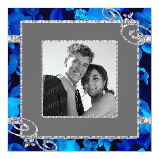 Rosas azules brillantes y remolinos del diamante comunicados personales