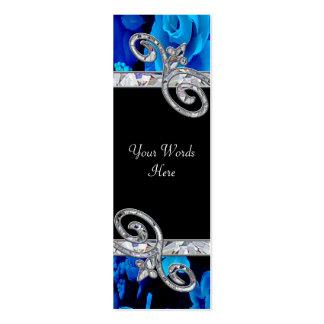 Rosas azules brillantes y remolinos del diamante q tarjetas de negocios
