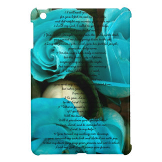 Rosas azules con caso del iPad del salmo un mini