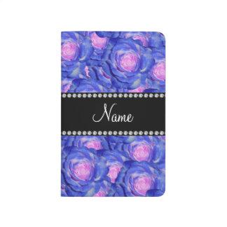 Rosas azules conocidos personalizados cuadernos grapados