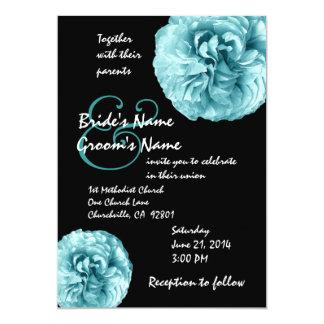Rosas azules de la aguamarina que casan la invitación 12,7 x 17,8 cm