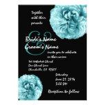 Rosas azules de la aguamarina que casan la plantil comunicados personales