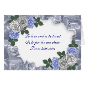 Rosas azules del satén de la invitación del boda, tarjeta de felicitación