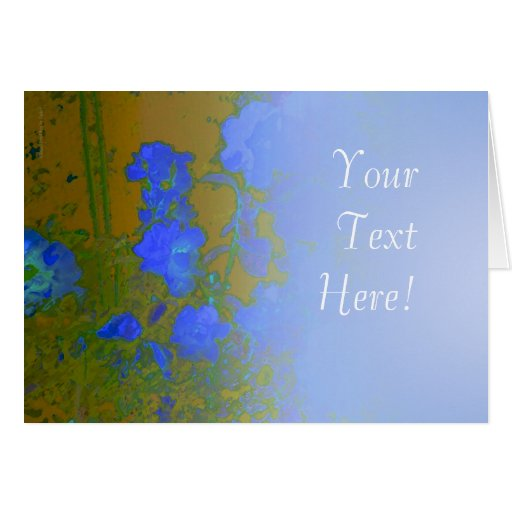Rosas azules en el oro tarjeta de felicitación