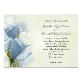 Rosas azules románticos que casan la invitación