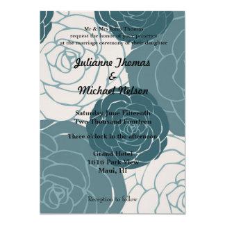 Rosas azules y blancos invitación 12,7 x 17,8 cm