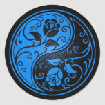 Rosas azules y negros de Yin Yang Etiqueta Redonda
