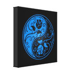 Rosas azules y negros de Yin Yang Impresión De Lienzo