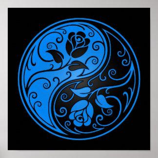 Rosas azules y negros de Yin Yang Póster