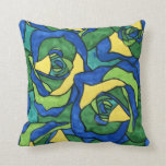 Rosas azules y verdes almohada