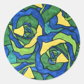 Rosas azules y verdes pegatina redonda