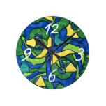Rosas azules y verdes reloj