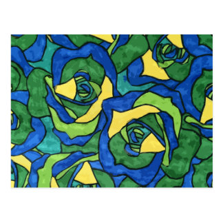 Rosas azules y verdes postal