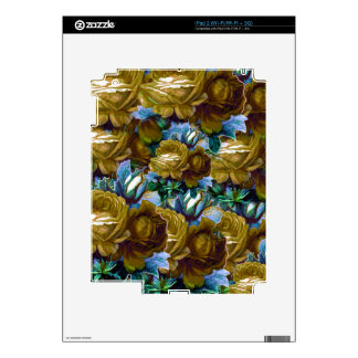 Rosas azulverdes del vintage calcomanía para iPad 2