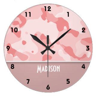Rosas bebés Camo; Personalizado Reloj Redondo Grande