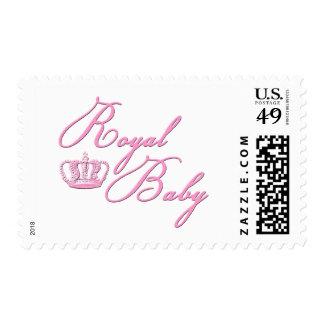 Rosas bebés reales con la corona sello postal