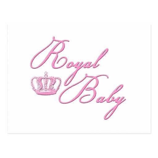 Rosas bebés reales con la corona tarjetas postales