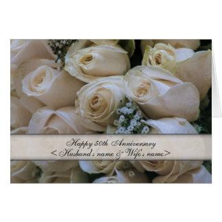 Rosas blancos 50th Aniversario Tarjetas