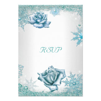Rosas blancos azules del boda de RSVP del trullo e Invitacion Personal
