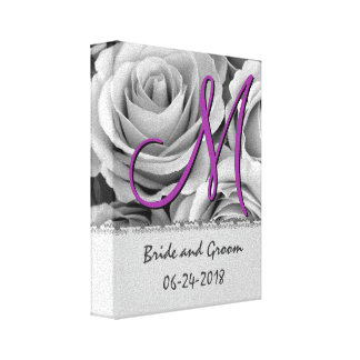 Rosas blancos de la fecha del boda del monograma impresiones de lienzo
