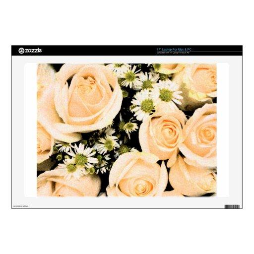 Rosas blancos del melocotón calcomanías para 43,2cm portátiles