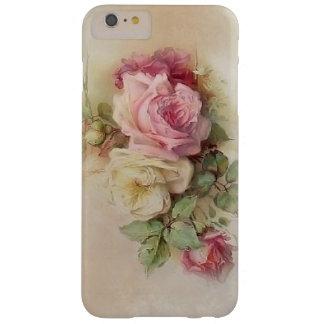 Rosas blancos del vintage y rosados pintados a funda para iPhone 6 plus barely there