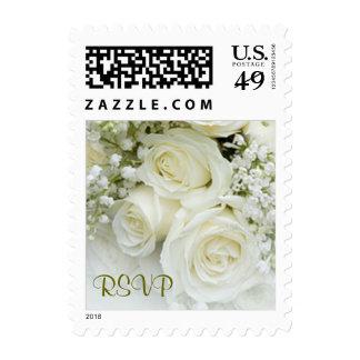 Rosas blancos elegantes RSVP Sello Postal