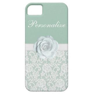 Rosas blancos elegantes y verde menta del cordón iPhone 5 carcasa