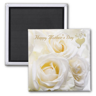 Rosas blancos - imán del día de madre