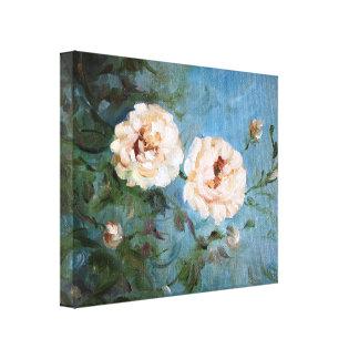 Rosas blancos lienzo envuelto para galerías
