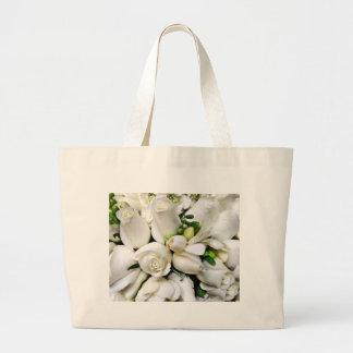 Rosas blancos, para cualquier occasion_ bolsa tela grande