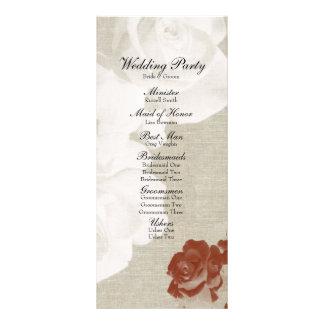 Rosas blancos rojos de lino del fantasma que casan lona publicitaria