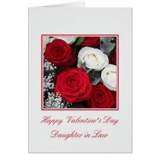 Rosas blancos rojos del el día de San Valentín de  Tarjeta De Felicitación