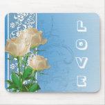 Rosas blancos románticos y amor Mousepad del cordó Alfombrilla De Ratones