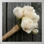 Rosas blancos y Barnwood Impresiones